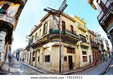 HAVANA - JAN 26: Streets in poor areas January 26, 2009 in Havana. Some tourists are not attracted by the deplorable condition of some areas of the city but it is the poverty in which most Cubans live. - stock photo