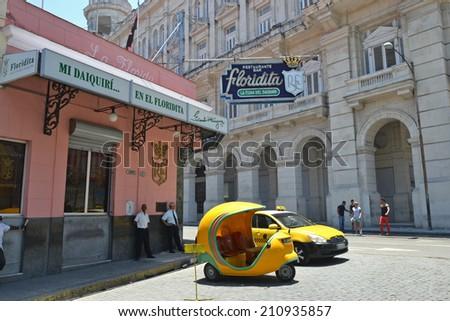 HAVANA - July 31: the exterior of the El Floridita restaurant and bar in Havana, Cuba on July 31, 2014. The Floridita is an iconic historic bar in Havana famous for Hemingway and daiquiris.  - stock photo