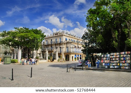 HAVANA - MARCH 27. View of Plaza de Armas located in the core of the city founded by the Spanish in 1519, UNESCO World Heritage since 1982. Taken on march 27, 2009 in Old Havana, Cuba - stock photo
