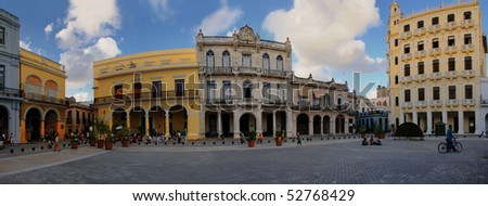 """HAVANA - NOVEMBER 3. Panoramic view of """"Plaza Vieja"""" with typical buildings, declared by UNESCO World Heritage Site in 1982. Taken on nov 3rd, 2008 in Old Havana, cuba. - stock photo"""