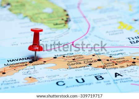 Havana pinned on a map of America  - stock photo