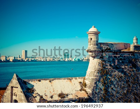 Havana. View of the old city through a bay from Morro's fortress,with a retro effect - stock photo