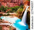 Havasu Falls, Havasupai Indian Reservation, oasi in the Grand Canyon - stock photo