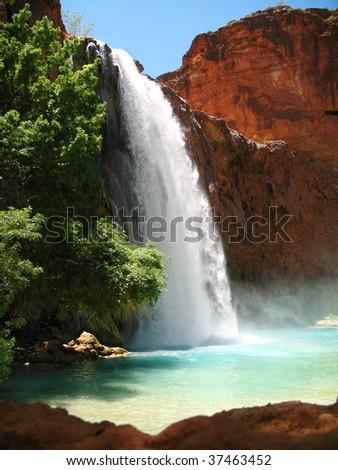 Havasu falls in the sunlight - stock photo