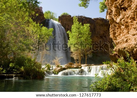 Havasu Falls waterfall located in the Grand Canyon in Arizona - stock photo