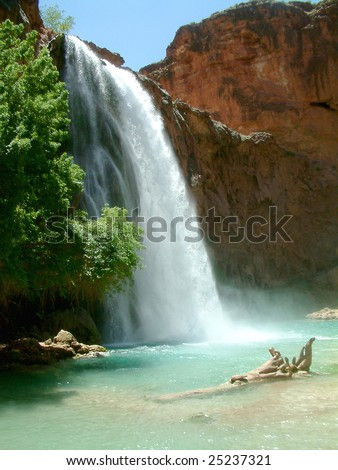 Havasupai Falls in Grand Canyon - stock photo