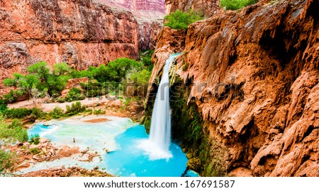 Havasupai Indian Reservation - Grand Canyon, Havasu Falls panorama - stock photo
