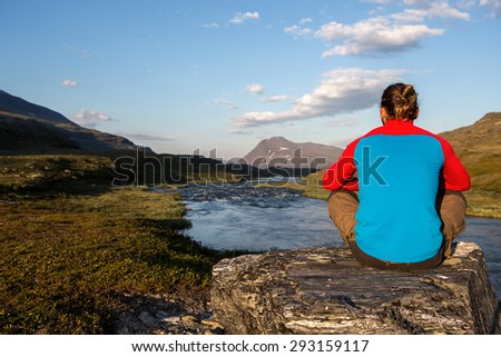 Have a break on a hiking  trip - stock photo