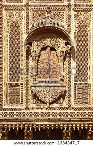 Haveli-private mansion in India. Jaisalmer city - stock photo