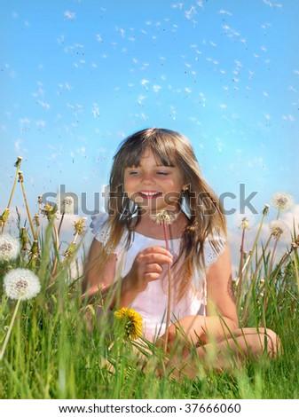 Having fun on meadow - stock photo