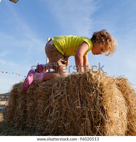 Having fun on pumpkin patch on sunny Sunday. - stock photo