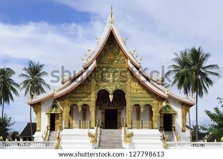 Haw Pha Bang Temple at Royal Palace Museum, Luang Prapang, Laos - stock photo
