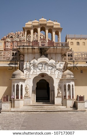 Hawa Mahal, the Palace of Winds in Jaipur, Rajasthan, India. - stock photo