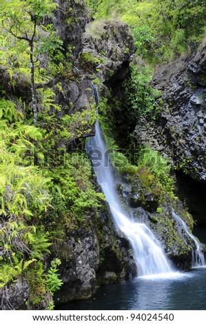 Hawai waterfall - stock photo