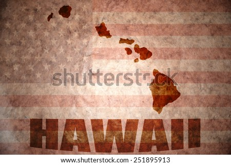 hawaii map on a vintage american flag background - stock photo