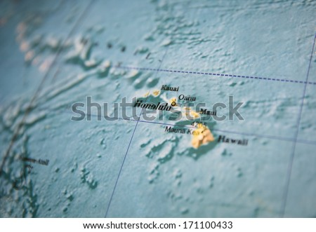 Hawaii map part of a world globe - stock photo