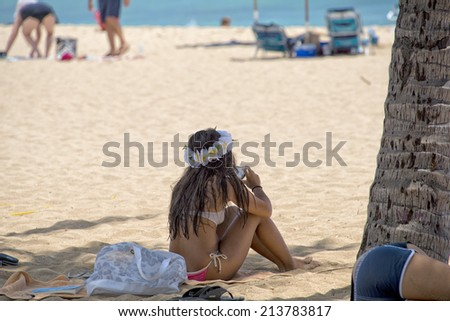 Hawaii oahu island Waikiki beach panorama - stock photo