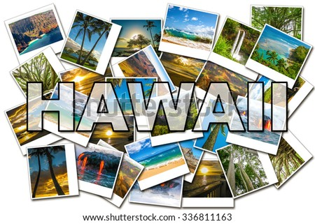 Hawaii pictures collage of different famous locations of the islands of Maui, the Big Island and Kauai Hawaii, United States. - stock photo