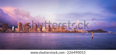 Hawaii skyline and the beautiful colors of sunset - stock photo