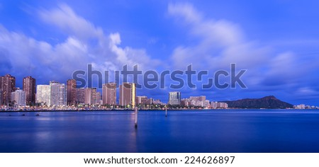 Hawaii skyline at twilight - stock photo