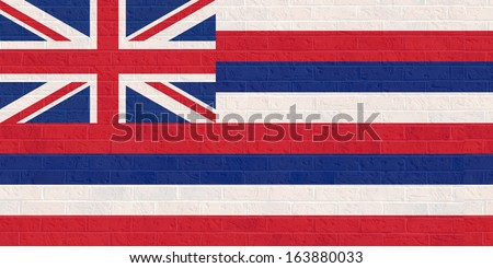 Hawaii state flag of America, isolated on white background. - stock photo