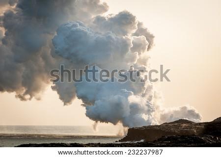 Hawaii - volcano - stock photo