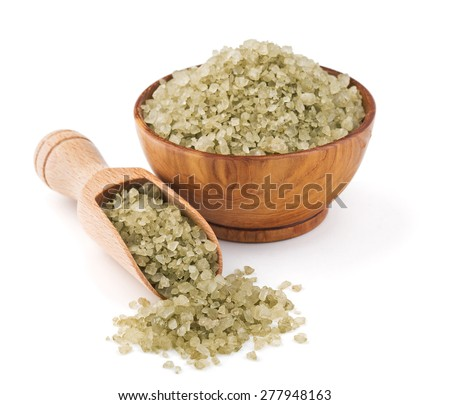 Hawaiian green salt in a wooden bowl isolated on white background - stock photo