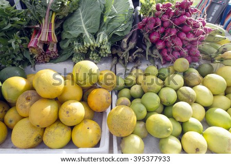 Hawaiian tropical fruit and vegetables - stock photo