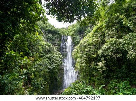 Hawaiian Waterfall, Maui, Hawaii - stock photo