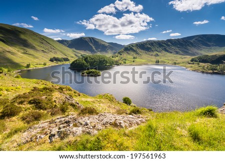 Haweswater from Whiteacre Crag / Haweswater is a reservoir built in the valley of Mardale and flooded in 1935 - stock photo
