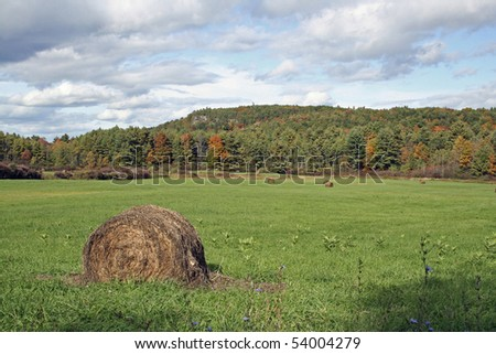 Hay bale, field, autumn in Vermont. - stock photo