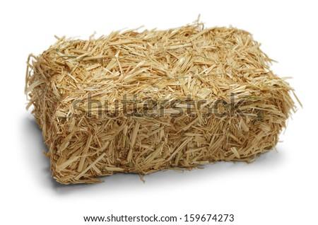 Hay Bale Isolated on White Background. - stock photo