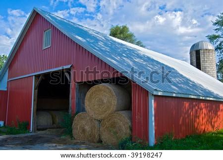 hay bales in barn - stock photo
