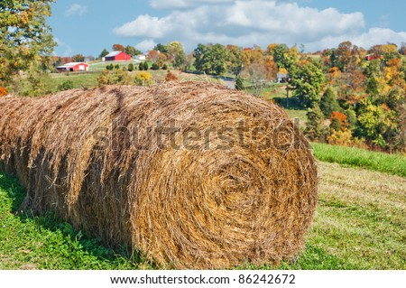 Hay bales in the countryside in Kentucky with red barns in the distance along the hillside. - stock photo