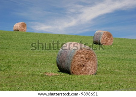 Hay bales on a hill under the summer sky. - stock photo