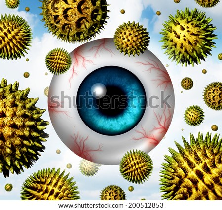Hay fever and pollen allergy concept as a group of microscopic organic pollination particles in the air with an itchy and watery human eye ball with red veins as health care seasonal allergies icon. - stock photo