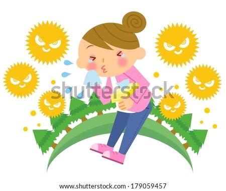 Hay fever woman - stock photo