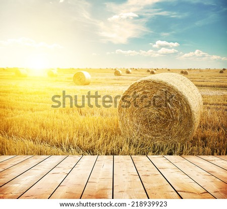 hay-roll on meadow against sunset background with wooden floor - stock photo