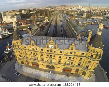 Haydarpasa station building from above, Istanbul, Turkey. - stock photo