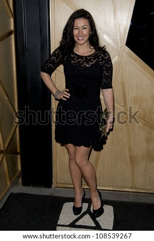 Hayley Tamaddon arriving at DSTRKT in Soho London for Nik Ede's 38th Birthday Party, London. 02/05/2012 Pics by: Simon Burchell / Featureflash - stock photo
