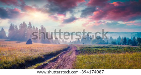 Haymaking in a Carpathian village. Colorful scene in the foggy mountains. Summer panorama with old country road. Rika location, Transcarpathians, Ukraine, Europe. - stock photo