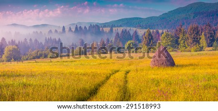 Haymaking in a Carpathian village. Colorful summer sunrise in the foggy mountain. Instagram toning. - stock photo