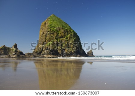 Haystack Rock, Cannon Beach, OR - stock photo