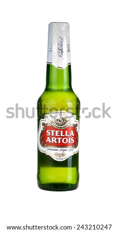 Hayward, CA - January 5, 2015: Bottle of Stella Artois premium Lager beer - stock photo