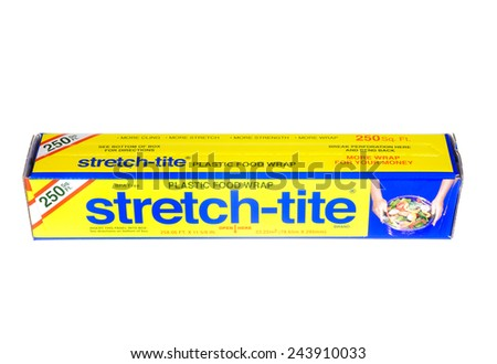 Hayward, CA - January 11, 2015: Packet of 250 Sq Ft of Stretch-tite brand plastic food wrap - stock photo