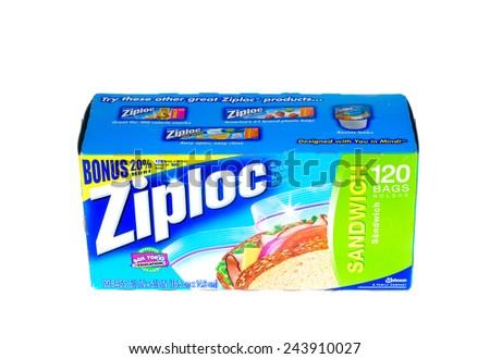Hayward, CA - January 11, 2015: Packet of 120 Ziploc brand Sandwich bags by Johnson - stock photo