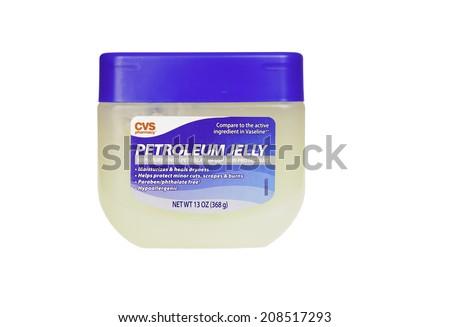 Hayward, CA - July 31, 2014: 13oz jar of CVS Pharmacy brand Petroleum Jelly - stock photo