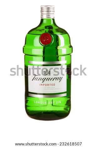 Hayward, CA - November 23, 2014: 1.5L bottle of  Tanqueray London Dry Gin - stock photo
