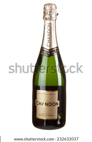 Hayward, CA - November 23, 2014: 750mL bottle of  Chandon Methode Traditionelle California Champagne Sparkling Wine - stock photo