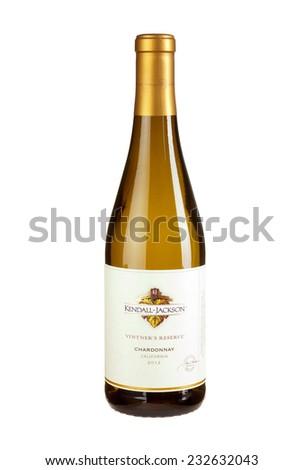 Hayward, CA - November 23, 2014: 750mL bottle of  Kendall Jackson Vintners Reserve 2012 Californian Chardonnay Wine - stock photo